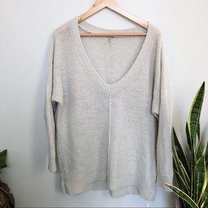 Free People V-Neck Sweater Beige Alpaca Wool Blend